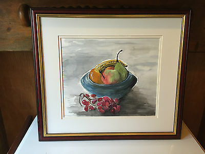 Original Watercolour Painting Still life of Fruit in a Bowl Signed & Framed