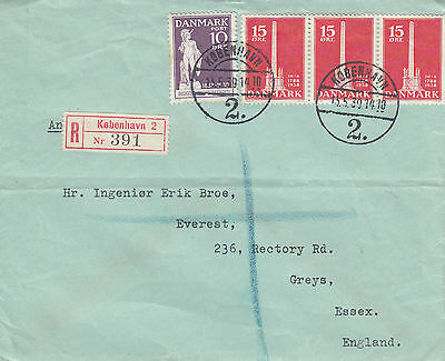 L 1621 Denmark 1939 registered cover to UK; 55 ore rate; 4 stamps