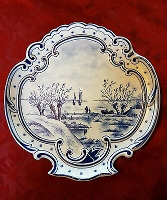 Unusual Hand Painted Continental Delft Style Wall Plaque
