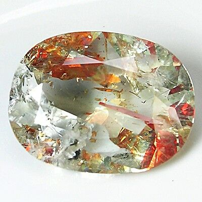 Echter STRAWBERRY Quartz  . 5,75 ct, 15 x 11,5 x 6 mm. IF . Weiß