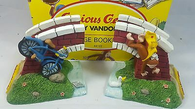 VANDOR Curious George Monkey Bicycle & Bridge Bookends Figure with Box Kids Room