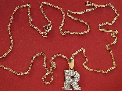 """9ct Yellow Gold Initial """"R"""" with Stones Pendant on Chain Necklace"""