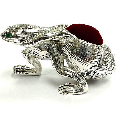 Victorian Style Frog Dragging Shell Pin Cushion Emerald Eyes 925 Silver Plate