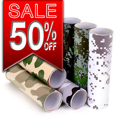 NEW Camouflage/Camo Vinyl Wrap Sticker Film Bubble Free!! 6 Designs, Non-Fade