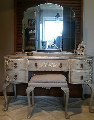 Louis style kidney shaped dressing table with triptic mirror and stool