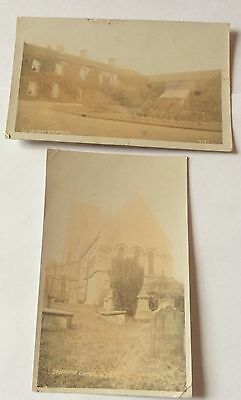 2 Early Real Postcards Spofforth Rectory & Church 1909