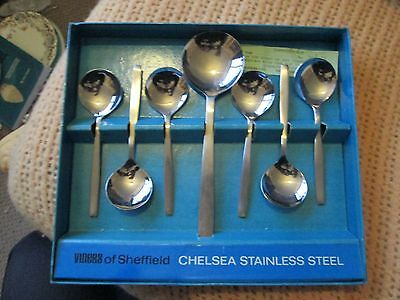 Viners 'Chelsea' Stainless Steel FRUIT SET Boxed Spoons Gerald Benney