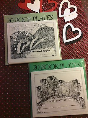 Classic Wildlife Bookplates, Perfect For Book lovers. Badgers And Sheep BN