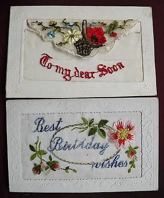 WW1 EMBROIDERED PATRIOTIC SILK POSTCARDS. 2 off.