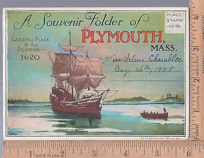 1920s used post card SOUVENIR FOLDER PLYMOUTH, MASS