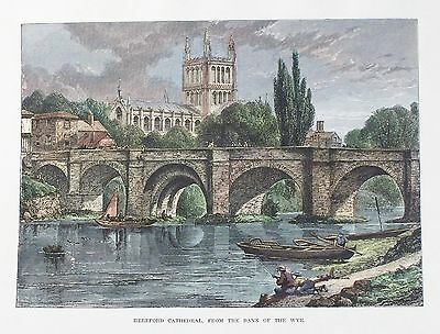 OLD ANTIQUE PRINT HEREFORD CATHEDRAL RIVER WYE BRIDGE c1890's ENGRAVING