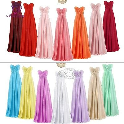 Bridesmaid Dress Long Formal Evening Ball Gown Party Prom Stock Size 6-24
