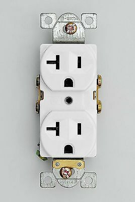 20 Amp Receptacle Outlet Commercial Grade Heavy Duty 20A Duplex White - 100 Pack