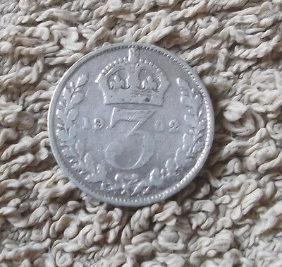 1902 Edward VII .925 Silver Threepence Coin - Great Britain.