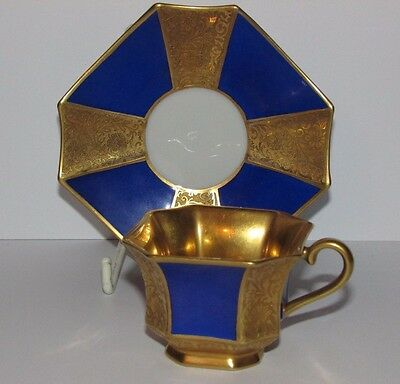 Lovely Rosenthal Raised Gilding and Blue Octagonal Cup & Saucer. (A) c.1923