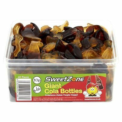 SweetZone 100% Halal Party Jelly Sweets - Giant Cola Bottles Tub of 60pcs Candy