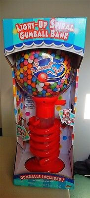 "Light-Up SPIRAL Gum Ball Machine & Bank 21"" Tall Coin Activated"