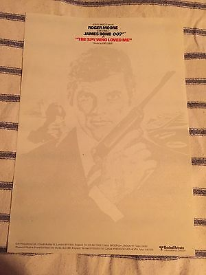 James Bond 007 The Spy Who Loved Me Original Unused Production Notepaper