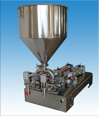 50-500ml two outlets liquid paste chilly sauce filling machine,piston filler
