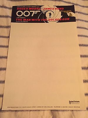 James Bond 007 The Man With The Golden Gun Original Unused Production Notepaper