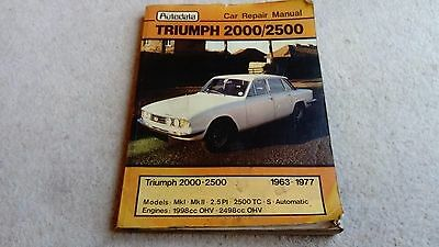 Autodata Owners Workshop Manual Triumph 2000 2500 1963 To 1977