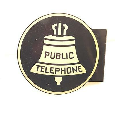 Vintage Double Sided Bell System Public Telephone Flange Sign