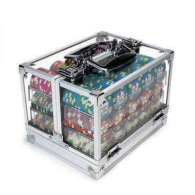 NEW 600 PC Showdown 13.5 Gram Clay Poker Chips Acrlyic Carrier Case - Pick Chips