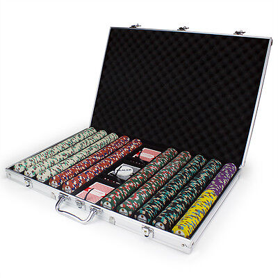 NEW 1000 Showdown 13.5 Gram Clay Poker Chips Aluminum Case Set Pick Your Chips