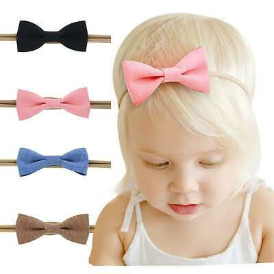 4 Pcs/Set Baby Girls Cotton Ramie Hair Bows Headbands Stretchy Hair Bands