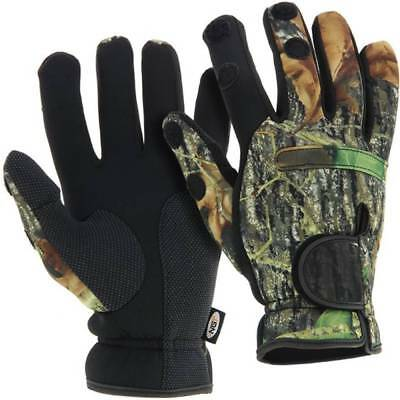 Neoprene Camo Gloves Folding Fingers, Fishing - Shooting - Hunting  Large NGT.