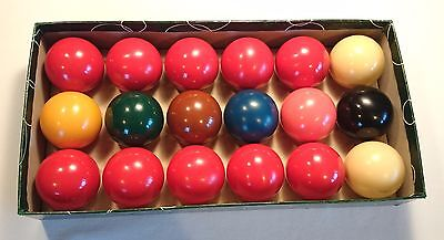 """Vintage 1 7/8"""" Snooker Balls (10 Reds)  ☆ Excellent condition ☆ Boxed ☆ 18 Balls"""