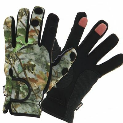 Neoprene Camo Gloves Folding Fingers, Fishing - Shooting - Hunting X Large NGT.