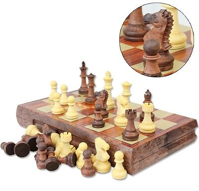 Folding Wooden +magnetic Chess Set Board Game Checkers Backgammon Draughts3in1