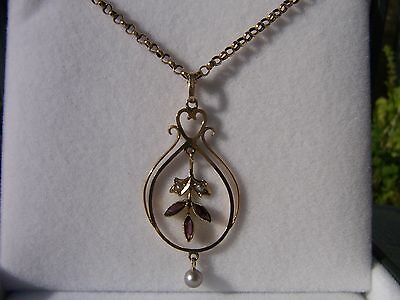 Antique / Vintage Lavalier Pendant With Amethyst & Pearls On A 9Ct Belcher Chain