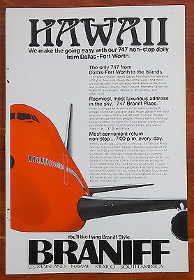 1973 Braniff Airlines 747 Non Stop Daily Dallas To Hawaii Color Vintage Print Ad