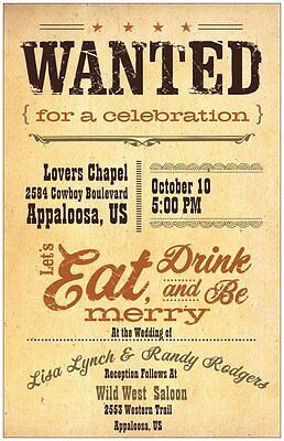 30 50 80 100 130 Wild WESTERN WANTED Country WEDDING Invitation 6X9