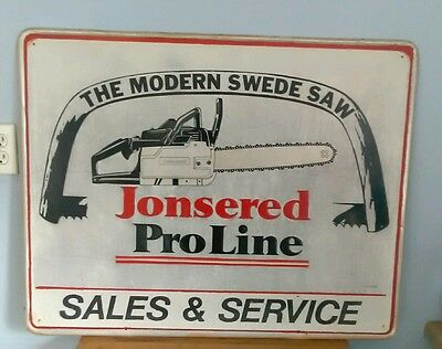 Vintage Large Jonsered Chain Saws Pro Line Sales and Service Metal Tin Sign