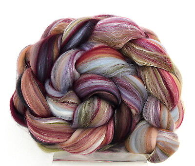 Merino Wool & Silk Blend Tapestry 100g for Hand spinning or Felting Combed Top