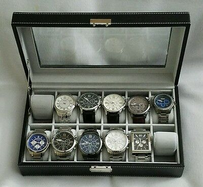Beautiful 10 Fossil Men Watches/Watch Collection Lot with Case
