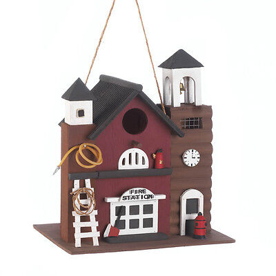 Two Story Fire Station Birdhouse Ladder Wood Fire Hydrant New Garden Decorative
