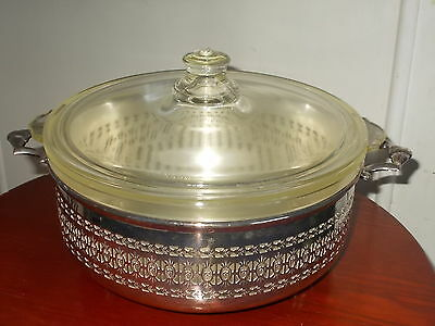 Collectable Queen Anne Style Silver Plate Serving Tray with Glass Dish & Lid