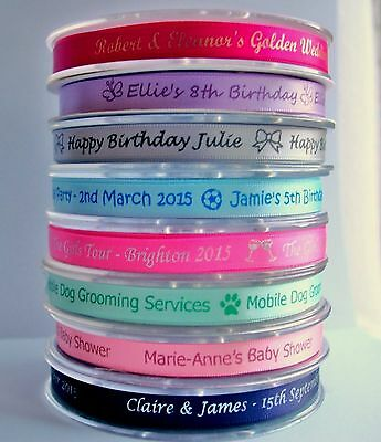 10mm Personalised Satin Printed Ribbon Wedding, anniversary, baby, corporate
