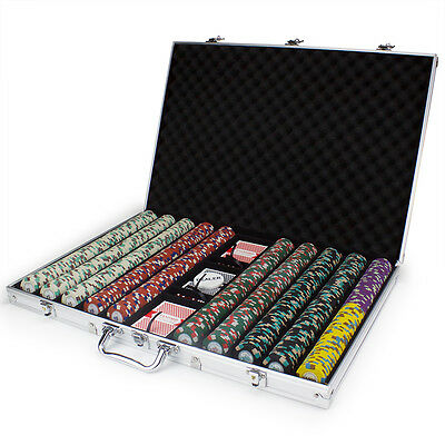 NEW 1000 Poker Knights 13.5 Gram Poker Chips Set Aluminum Case Pick Chips