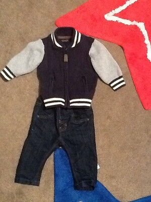 Next Boys Outfit 3-6 Months Jeans And Cardigan Bomber