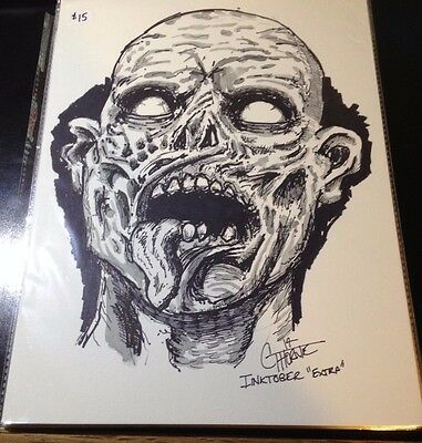 Walking Dead Sketch art full size 9 x 12 Zombie Comic Con  free ship #extra