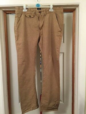 Mens Industrialize Beige Straight Fit 4 Pocket Twill Jeans Trousers 34S