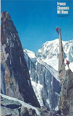 Chamonix Mont Blanc Mountain Climbing Colour Photographic Poster