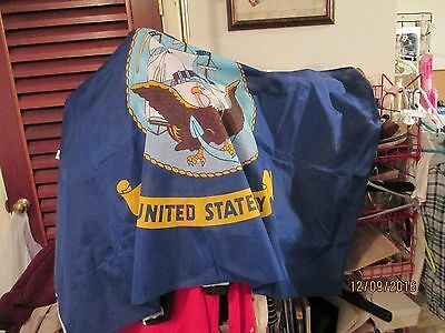 United States Navy flag/banner 59 X 35 w/graphic of ship and eagle-EUC