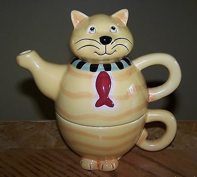 THT Designs Cat With Fish Tie TEA-FOR-1 Tea Pot and Cup Set 2006