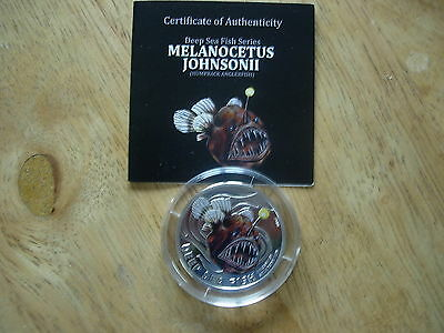 2010 Pitcairn Isles 1/2 Oz Deep Sea Fish Silver Proof Coin No. 0223 Mintage 1000